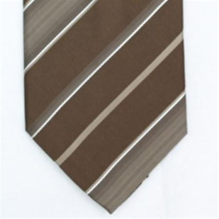SKU#SW434AL  Silk Brown/Beige/White Extra Long Woven Necktie $39