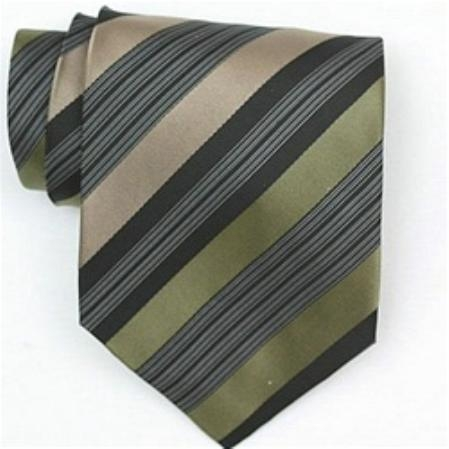 SKU#SW431AL  Silk Green/Black/Tan/White Extra long Woven Necktie
