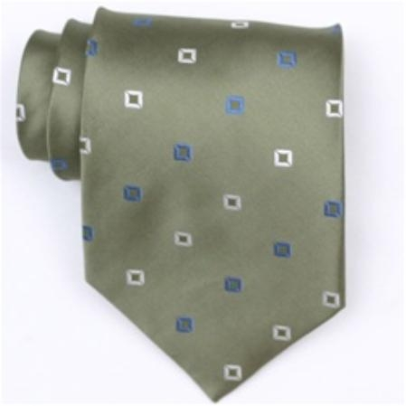 SKU#SW387AL  Silk Green/White/Blue Extra Long Woven Necktie $39