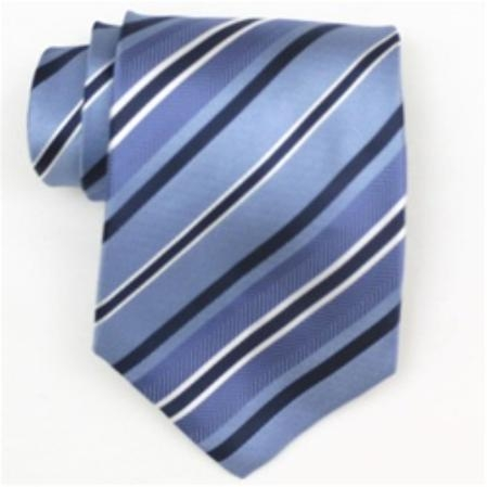 SKU#SW393AL  Silk Lt.Blue/Navy/White Extra Long Woven Necktie