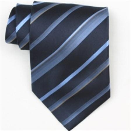 SKU#SW390AL  Silk Navy/Lt.Blue/Gold Extra Long Woven Necktie $39