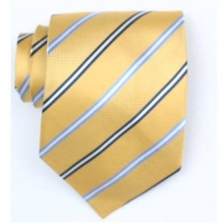 SKU#SW378AL  Silk Yellow/Navy/Lt.blue Extra Long Woven Necktie