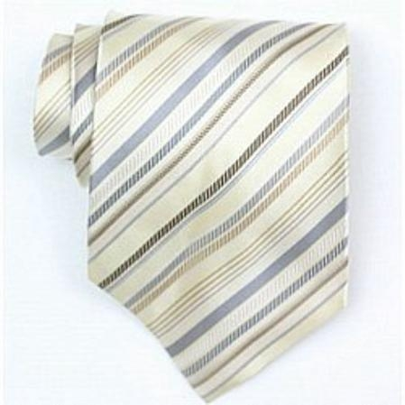 SKU# SW425A Silk Beige/Grey/Brown Woven Necktie $39
