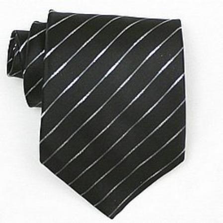 SKU#SW370A Silk Black /Metallic Woven Necktie $39