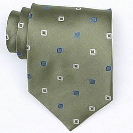 SKU#SW387A Silk Green/White/Blue Woven Necktie