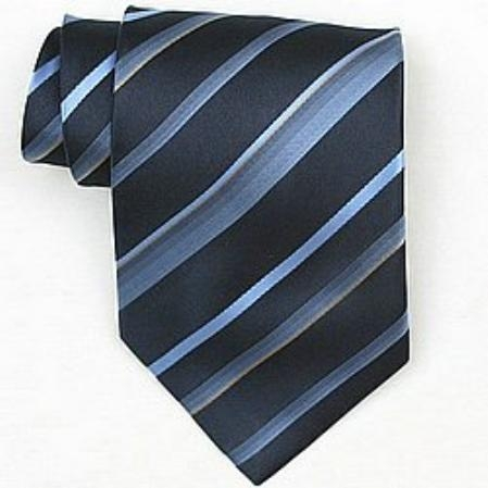 SKU#SW390A Silk Navy/Lt.Blue/Gold Woven Necktie