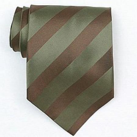 SKU#SW388A Silk Olive/Brown Woven Necktie $39