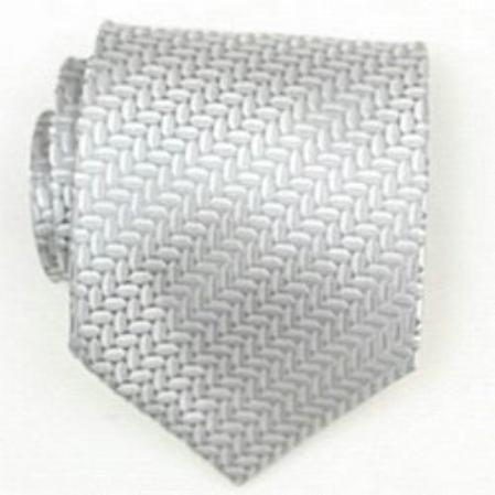 SKU#SW386A Silk Silver Woven Necktie $39
