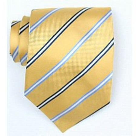 SKU#SW378A Silk Yellow/Navy/Lt.blue Woven Necktie