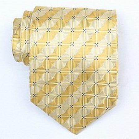 SKU#SW377A Silk Yellow/Blue Woven Necktie