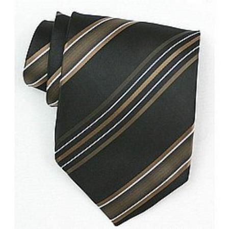 SKU#SW435A  Silk Black/Gold/White Woven Necktie