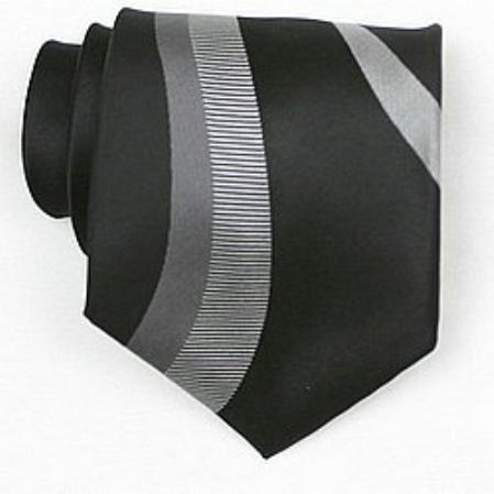 SKU#SW433A  Silk Black/Grey/White Woven Necktie $39
