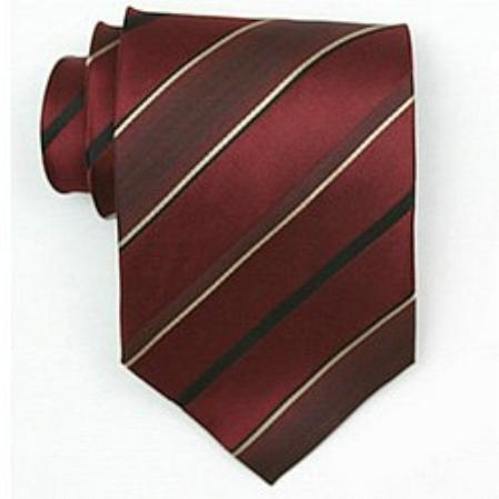 SKU#SW455A  Silk Burgundy ~ Maroon ~ Wine Color/black/gold woven necktie