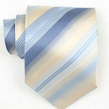 SKU#SW440A  Silk Cream/Purple/Blue Woven Necktie $39