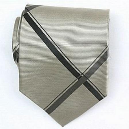 SKU# SW421A  Silk Gold/Black Woven Necktie $39