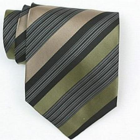 SKU#SW431A  Silk Green/Black/Tan/White Woven Necktie
