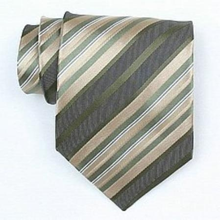 SKU#SW430A  Silk Green/Grey/Beige/White Woven Necktie
