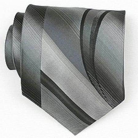SKU#SW432A  Silk Grey/Black Woven Necktie $39