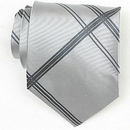 SKU#SW423A  Silk Grey/D.Grey Woven Necktie $39
