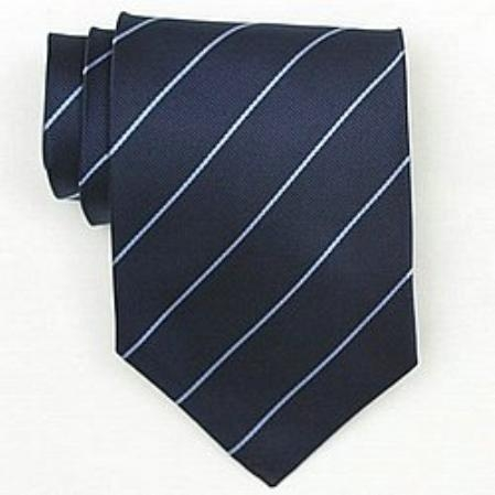 SKU#SW442A  Silk Navy/It.Blue Woven Necktie $39