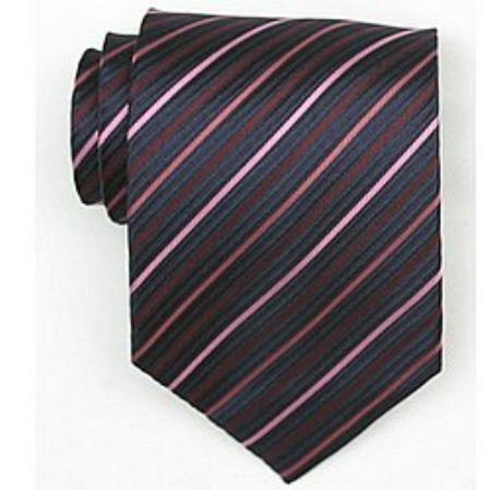 SKU#SW446A  Silk Navy/Pink Woven Necktie $39