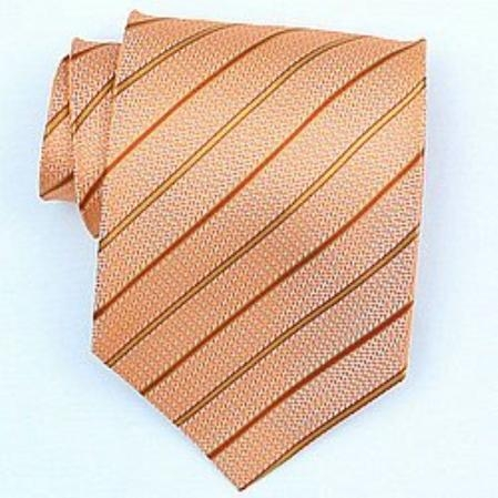 SKU#SW418A  Silk Orange/Gold Woven Necktie $39