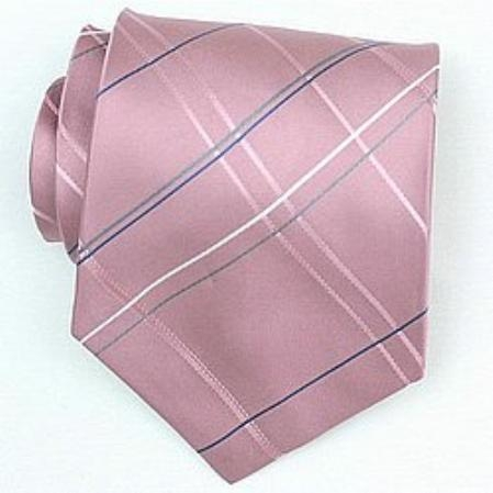 SKU#SW422A  Silk Pink/Grey/Blue/White Woven Necktie