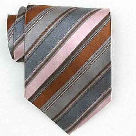 SKU#SW412A  Silk Pink/Grey/Brown Woven Necktie $39