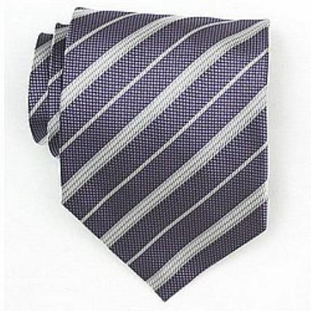 SKU#SW439A  Silk Purple/White Woven Necktie $39