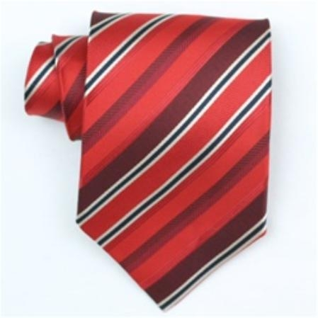 SKU#SW454A  Silk Red/Burgundy/black/cream Extra Long woven necktie $39