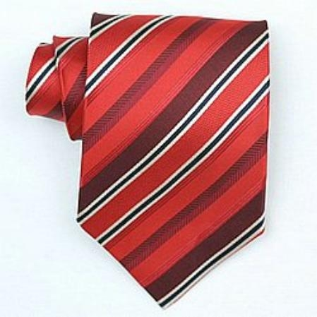 SKU#SW454A  Silk Red/Burgundy/black/cream woven necktie $39