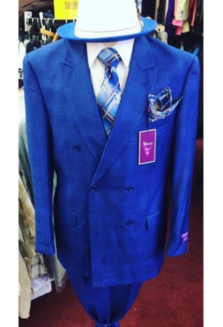 Mens Royal Blue Button Closure Double Breasted Peak Lapel Velvet Jacket