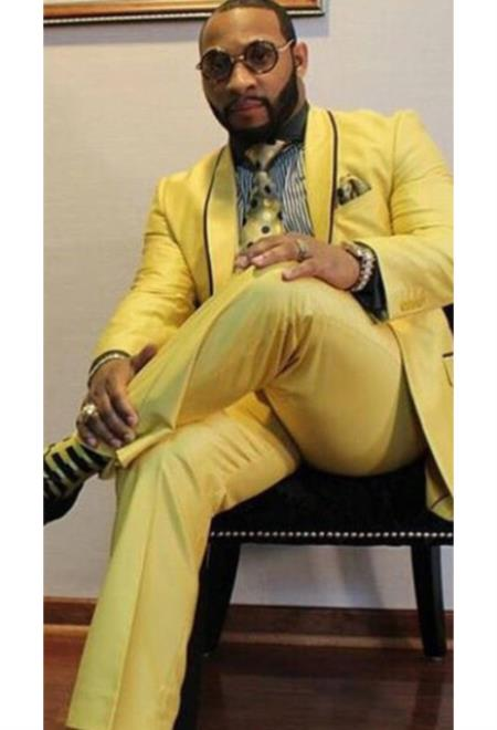 Mens Yellow Button Closure Single Breasted Trimmed Shawl Lapel Velvet Jacket