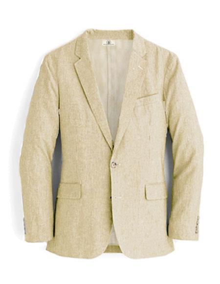 Alberto Nardoni Brand Beige Linen Blazer for men