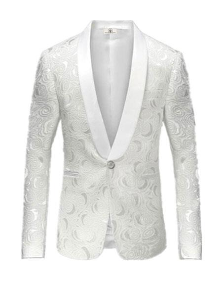 Alberto Nardoni Brand White Paisley Shawl Collar Tuxedo Dinner Jacket & Men's Blazer Sport Jacket