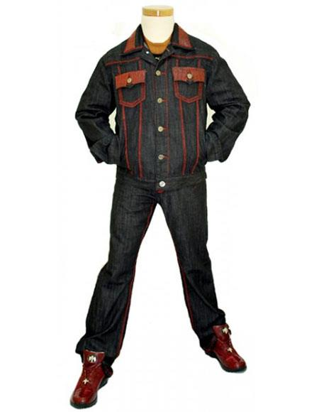 G-Gator Mens 5 Buttons Genuine Hornback World Best Alligator ~ Gator Skin Denim Outfit Black Jacket