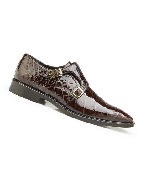 Men's Genuine World Best Alligator ~ Gator Skin Leather Lining Chocolate Double Buckle Shoes