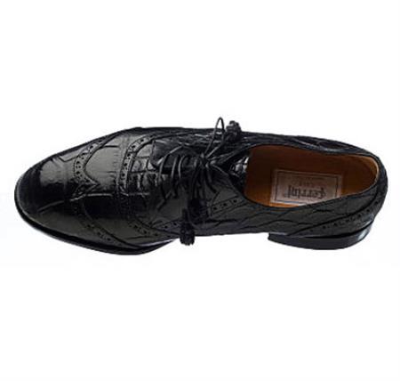 Ferrini Handcrafted Belly World Best Alligator ~ Gator Skin Dress Shoe Black/Chocolate