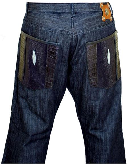 G-Gator Mens Genuine Hornback World Best Alligator ~ Gator Skin/Stingray Navy Blue Flap Pockets Jeans