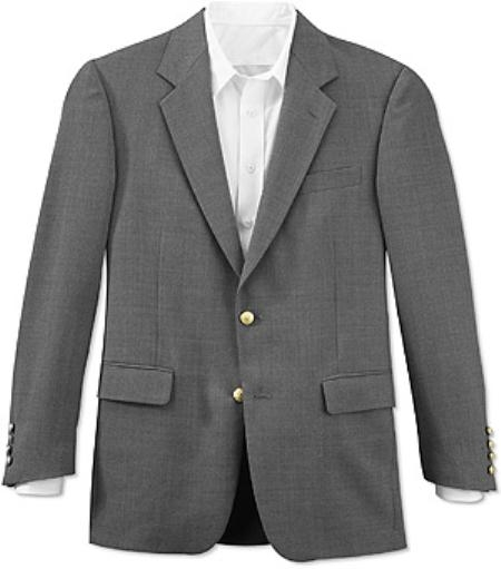 SKU#RFJ814 All-season Grey 2 Button Front 4 on Sleeves Fully Lined Metal Button BLAZER (Men + Women)