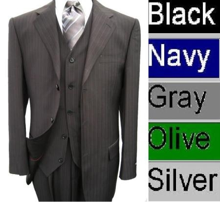 SKU# FIQ751 Amazing Quality Vested Conservative Muted Pinstripe 3 Button Suit