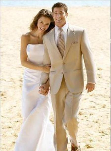 SKU#Eric_2P Amazing Linen Feel Rayon/Spandex Tan 2 Button Wedding Suit $149