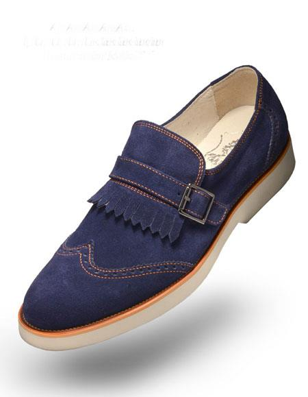 Rubber Sole-Suede-Navy-Shoes