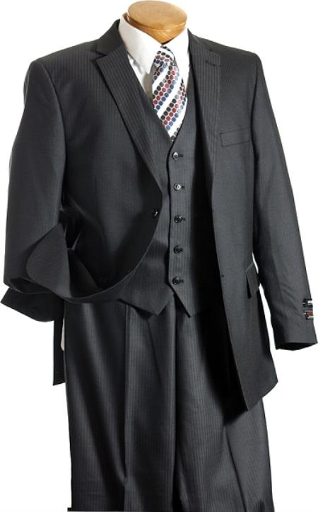 SKU#BR3002 Summer Light Weight Fabric 3PC Vested Charcoal TNT Mens three piece suit
