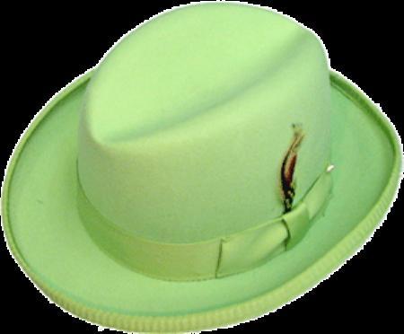SKU# ANI409 GODFATHER NEW MENS lime mint Green 100% Wool Homburg Dress Hat 4201