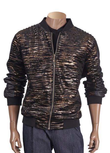 Mens Animal Print Black Zipper Closure Short Jacket with Trim