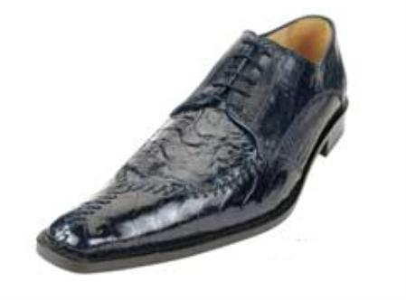 Belvedere Antico Point Toe made of Alligator Caiman Flank and Ostrich Leg in Navy $425
