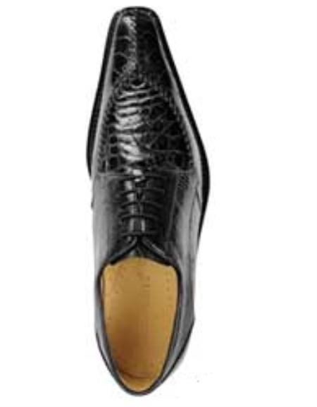 Belvedere Antico Point Toe made of Alligator Caiman Flank and Ostrich Leg in Black $425