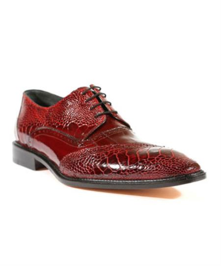 Mens Nino Antique Red / Scarlet Red Oxford Authentic Genuine Skin Italian Shoes