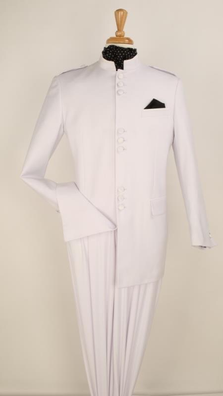 Buy KA5525 Apollo King Men's 2 Piece Nehru Style Suit - Mandarin Collar - White